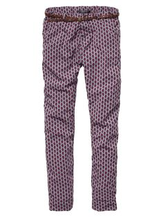 Allover Printed Flight Pants With Belt