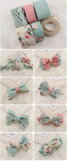 """Delicadeza de laços """"Discover thousands of images about cute DIY bow tutorial"""", """"This post was discovered by Tra"""", """"Do it yourself also known as DIY Diy Ribbon, Ribbon Crafts, Ribbon Bows, Ribbons, Ribbon Art, Diy Hair Bows, Bow Hair Clips, Felt Hair Bows, Baby Girl Hair Clips"""