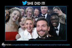 Yup, Ellen DeGeneres now has the most retweeted tweet in history with her epic Oscars selfie.