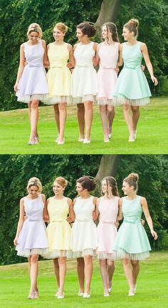 Candy Color Bridesmaid Dresses, Sweet Bridesmaid Dresses,Bowknot Homecoming Dresses