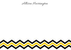 Personalized Yellow Gold and Black Chevron Stationery  - 5x7 Note Cards by ABirdIntheHandCreate on Etsy