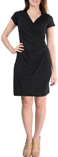 24/7 Comfort Apparel Faux-Wrapped Cap-Sleeve Dress