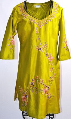 Embroidered Lime Green 100% Silk Tunic Dress India Pink Lilac Floral Rhinestones. $10.00, via Etsy.