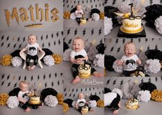 Harry Potter cake smash session, harry potter birthday, first birthday, black grey and gold, Lightning bolt banner, harry potter cake | Two Sisters photography