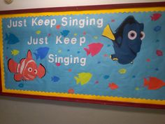 i love Dory, love the quote, and lobe the fact that one of my choir kids who is now a music teacher made this bulletin board for her classroom. Music Bulletin Boards, Reading Bulletin Boards, Bulletin Board Display, Disney Bulletin Boards, Disney Classroom, Music Classroom, Classroom Decor, Turtle Classroom, Infant Classroom