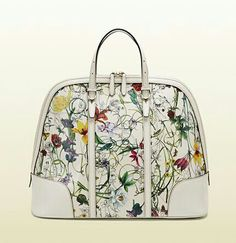 Gucci floral leather top handle bag