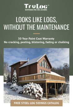 Steel Log Siding provides a natural-looking wood siding without any maintenance and without blowing the budget. It lasts longer than other options and looks fantastic. Provide your family with all the comfort and charm of a rustic log home without the routine log cabin maintenance. Innovative TruLog ™ steel log siding provides a durable, hassle-free way to live in a log cabin-style home without the upkeep of wood. Cabin House Plans, Tiny House Cabin, Dream House Plans, Small House Plans, Log Siding, Steel Siding, Cabin Style Homes, Log Homes, Chen