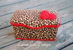 Cheetah with Red Rolled Flowers Boutique Style Nursery Wipe Case on Etsy, $15.99