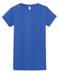 Gildan Ladies Junior Fit SoftStyle Ring Spun Cotton T-Shirt. ring spun cotton (preshrunk) Deluxe ring spun softness Side seam construction with stylish tapered cut Feminine rib knit neck Junior fit tunic length Easily removable T Shirts, Ladies Shirts, Short Sleeve Dresses, Dresses With Sleeves, Royal Fashion, Lady, Fit, Mens Tops, Cotton