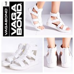 "Vagabond White Gladiator Modern leather gladiator sandals by Vagabond stacked on a thick, flat rubber sole. Features soft leather lining + insole, convenient hook + loop strap closures, and exaggerated texture on the soles for optimal traction + a sporty look we love.  Content + Care - Leather, rubber - Wipe clean - Imported  Size - Heel height: 1"" - Shaft height: 4.75"" Urban Outfitters Shoes Sandals"