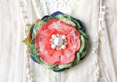 Colorful Scarf Pin - Fabric Flower in Coral, Blue and Green