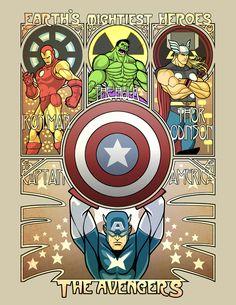 Art Nouveau Avengers by ninjaink