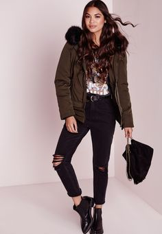 Missguided - Padded Button Front Fur Hood Bomber Khaki