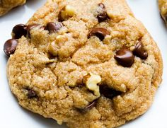 Chocolate Chip Walnut Cookies (Although these cookies are already vegan, make sure to use organic, coconut or turbinado (raw) sugar instead of regular cane sugar - which truely isn't vegan since it uses the 'bone char' method, where the sugar is filtered through the charred bones of cows)