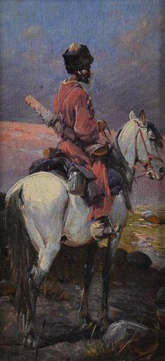 Highlander on horseback. Artist Alfred Wierusz-Kowalski, 1849-1915 (Poland) / Горец на лошади. Художник Альфред Веруш-Ковальский, 1849-1915 (Польша).