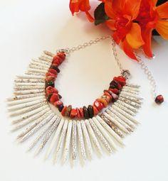 Spikes Layered White Orange Gemstone Pointy by BijiBijoux on Etsy,