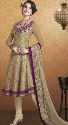 $92.72 Brown Net Embroidery Anarkali Salwar Kameez 24391