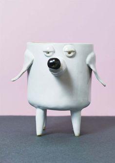 Ceramic Dog Planter, White Cactus Planter, succulent planter, white flower pot, Dog shape planter - Modern Contemporary Ceramic Design