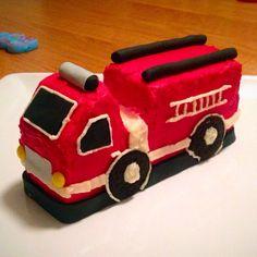 Fire truck smash cake