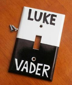Perfect Light Switch for Star Wars Room. I want this soo bad!!! (Even tho my room is flowery lol)