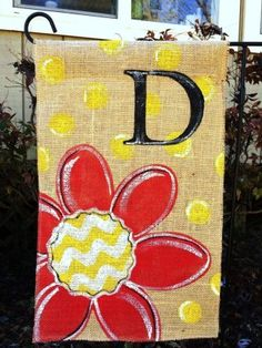 Items similar to Burlap Garden Flag Red Flower with Chevron and Yellow Polka Dots and Monogram on Etsy Burlap Yard Flag, Burlap Garden Flags, Burlap Wreath, Burlap Projects, Burlap Crafts, Craft Projects, Craft Ideas, Diy Crafts, Garden Flag Stand