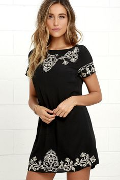 Fables about the Tale to Tell Beige and Black Embroidered Shift Dress are sure to follow its arrival! Swirling beige embroidery decorates woven poly as it shapes a rounded neckline, short sleeves, and a darted, shift bodice. Exposed gunmetal back zipper.