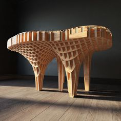 Parametric table Mushroom Model available on Turbo Squid, the world's leading provider of digital models for visualization, films, television, and games. Parametric Architecture, Wood Architecture, Parametric Design, Conception Paramétrique, Wood Design, Layout Design, St Just, Curved Wood, 3d Modelle