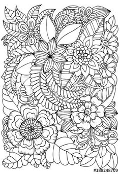 Black And White Doodle, Flower Doodles, Floral, Coloring Stuff, Drawing Flowers, Tapestry, Drawings, Pattern, Image