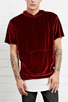 A velour tee by EPTM.™ featuring a hood, front kangaroo pocket, and short sleeves. Stylish Mens Outfits, Cool Outfits, Casual Outfits, Men Casual, Mens Velour Tracksuit, 2017 Fashion Outfits, Baggy Clothes, Teen Girl Fashion, Summer Outfits For Teens