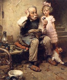 """""""Cobbler Studying Doll's Shoe"""" by Norman Rockwell (1921)"""