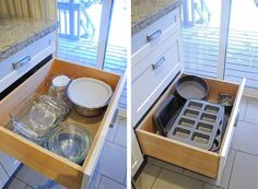 Mom's kitchen has 2 deep drawers: use for mixing bowls?, pyrex/corning ware/casserole dishes, bakeware (Rambling Renovators: After The Renovation: The Kitchen)