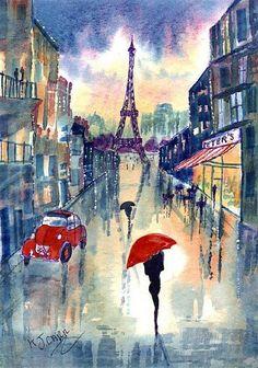 Art: Rainy Day~Paris by Artist KJ Carr