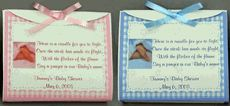 Baby Shower Tealight Candles with poem. Personalized with name and date from http://www.mybabyshowerfavors.com/pe016.html