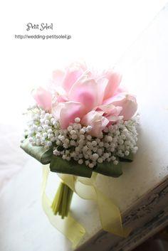 チューリップとカスミソウのブーケ tulip baby's breath bouquet