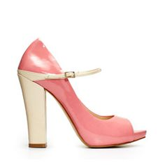 If you're convinced that a pastel, patent leather Mary Jane is a shoe made for little girls on Easter Sunday, think again. These streamlined hyacinth pumps trimmed in cream are nothing if not adult.