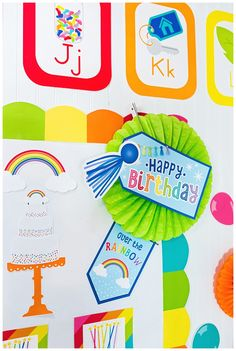 Hello Sunshine - SchoolgirlStyle www.schoolgirlstyle.com  rainbow classroom decor, unicorn classroom theme, classroom organization, teacher desk, bulletin boards, rainbow decor, birthday set Rainbow Palette, Rainbow Theme, Rainbow Colors, Bulletin Board Supplies, Cute Bulletin Boards, Teacher Desk Organization, Sunshine Birthday, Birthday Tags, Rainbow Decorations