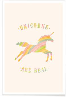 Unicorns Are Real II en Affiche premium par Florent Bodart Real Unicorn, Graphic Tees, Unicorns, Artwork, Design, Baby Born, Event Posters, Bedroom, Children
