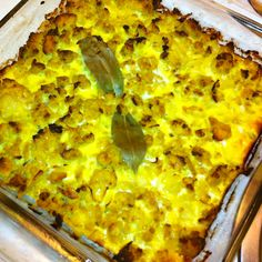 Bobotie made in our kitchen. South African dish made with curry, ground meat and an egg crust. Yummy with shredded coconut sprinkled on top.