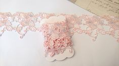 Pale pink embroidered flower lace trim, for craft projects, 1 yard Flower Making, Embroidered Flowers, Small Gifts, Planner Stickers, Pale Pink, Lace Trim, Craft Projects, Fiber, Yard
