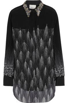 3.1 Phillip Lim|Embellished feather-print silk shirt|NET-A-PORTER.COM