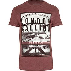 Red marl London calling print t-shirt - print t-shirts - t-shirts / vests - men