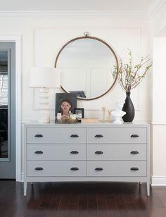 dresser decor Grey dresser, round mirror, vase with greenery, tabletop styling Studio McGee Bedroom Dresser Styling, Bedroom Dressers, Bedroom Furniture, Dresser Top Decor, Grey Dresser, Dresser Mirror, Entryway Dresser, Low Dresser, Grey Drawers