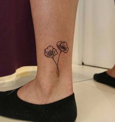 Cute Ankle Poppy Tattoo