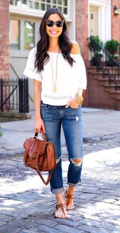 The perfect top for favorite boyfriend jeans: an off-the-shoulder white top
