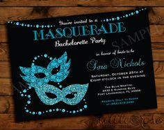 Bridal Shower Masquerade Party Invitation | Masquerade Invite ...