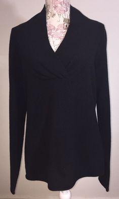 Garnet Hill Cashmere Sweater Womens Size Large Black V-Neck Sweater   fashion  clothing 1077e2526