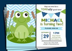 Frog Invitation Printable Boys Birthday Baby By ThatPartyChick 1500 Themes For 1st