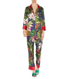 Pantaloni a stampa floreale in seta