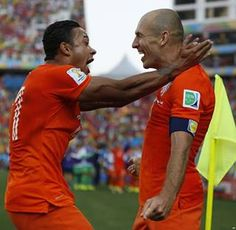 Netherlands players Robben and Depay
