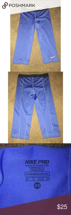 Size XS Nike pro Capri leggings Size XS Capri leggings. Cuts right below knee. In amazing shape! Blue with orange/pink colored accents. Spandex material. Nike Pants